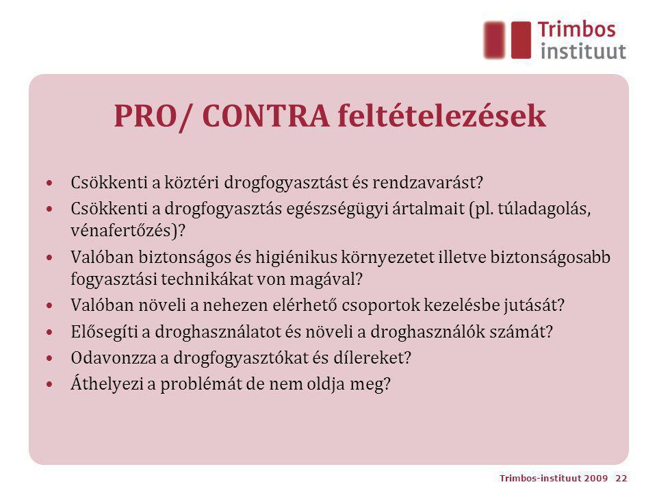 PRO/ CONTRA feltételezések Csökkenti a köztéri drogfogyasztást és rendzavarást? Csökkenti a drogfogyasztás egészségügyi ártalmait (pl. túladagolás, vé