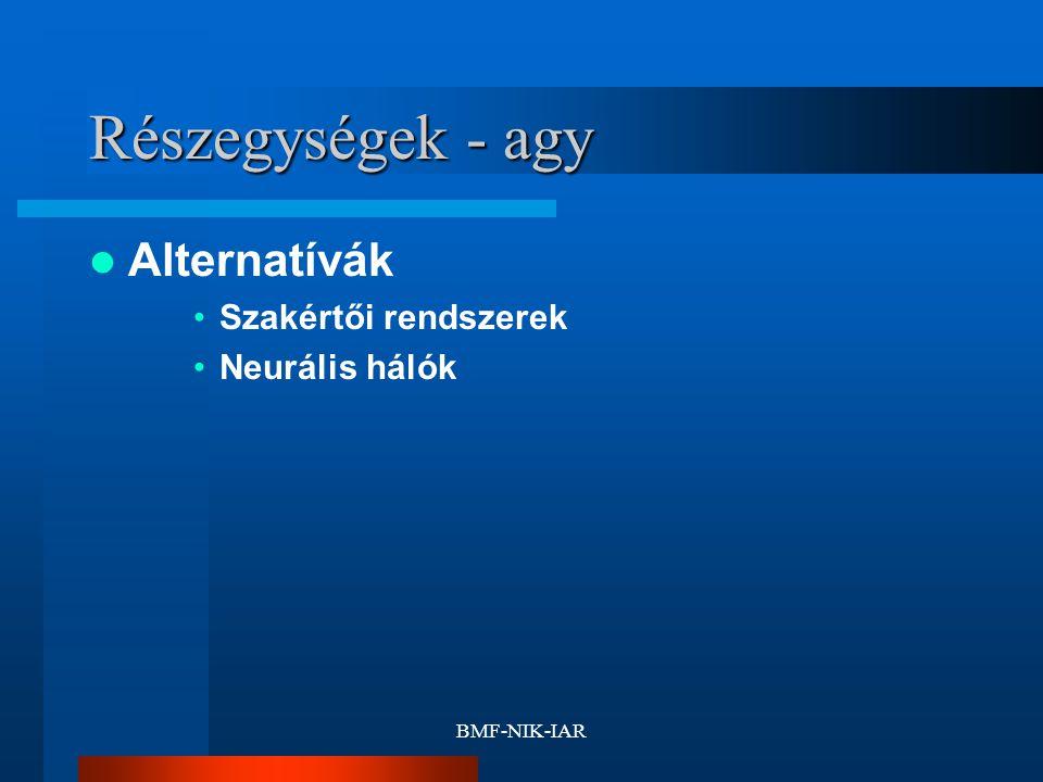 BMF-NIK-IAR Részegységek - agy Alternatívák Szakértői rendszerek Neurális hálók