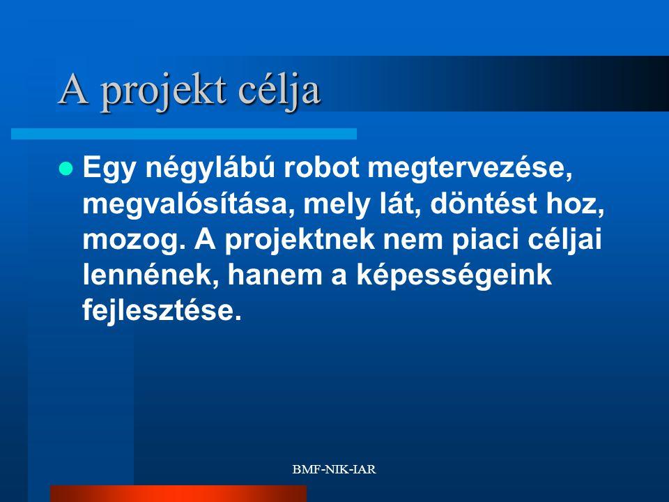 BMF-NIK-IAR A projekt célja Egy négylábú robot megtervezése, megvalósítása, mely lát, döntést hoz, mozog. A projektnek nem piaci céljai lennének, hane