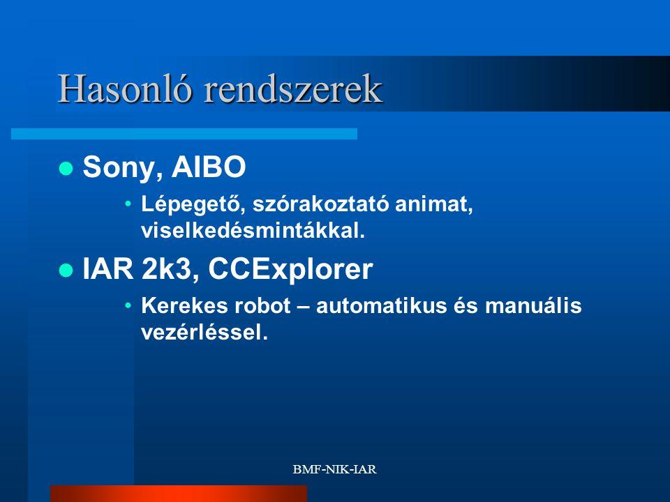 BMF-NIK-IAR Hasonló rendszerek Sony, AIBO Lépegető, szórakoztató animat, viselkedésmintákkal. IAR 2k3, CCExplorer Kerekes robot – automatikus és manuá