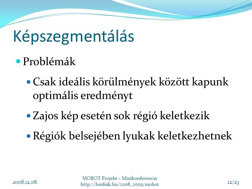 Képszegmentálás Problémák Csak ideális körülmények között kapunk optimális eredményt Zajos kép esetén sok régió keletkezik Régiók belsejében lyukak keletkezhetnek 2008.12.08.