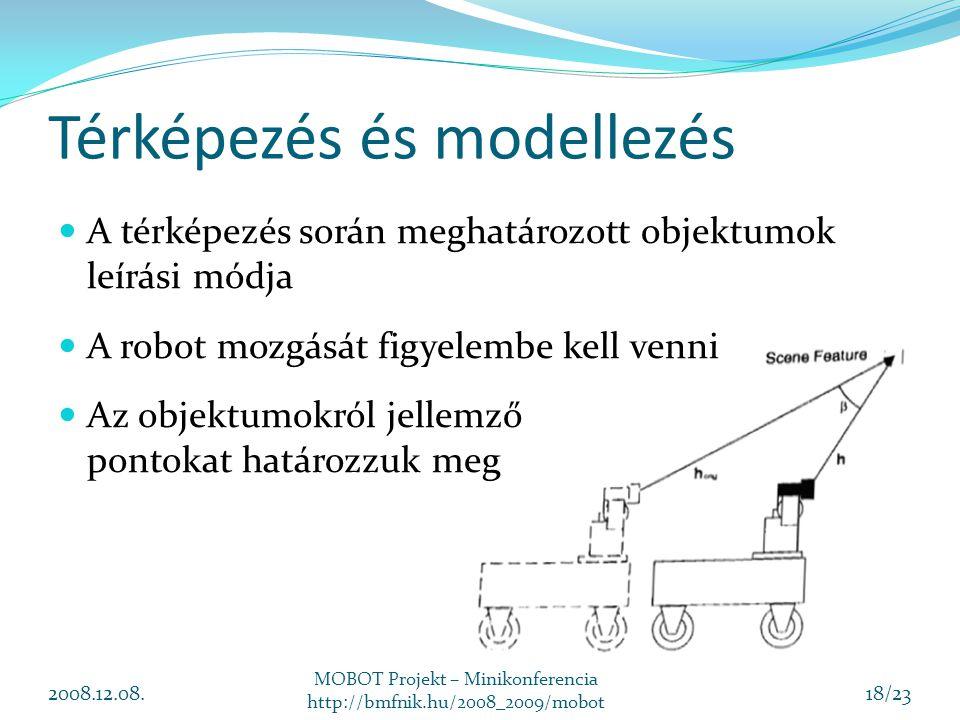 Térképezés és modellezés 2008.12.08. MOBOT Projekt – Minikonferencia http://bmfnik.hu/2008_2009/mobot 18/23 A térképezés során meghatározott objektumo
