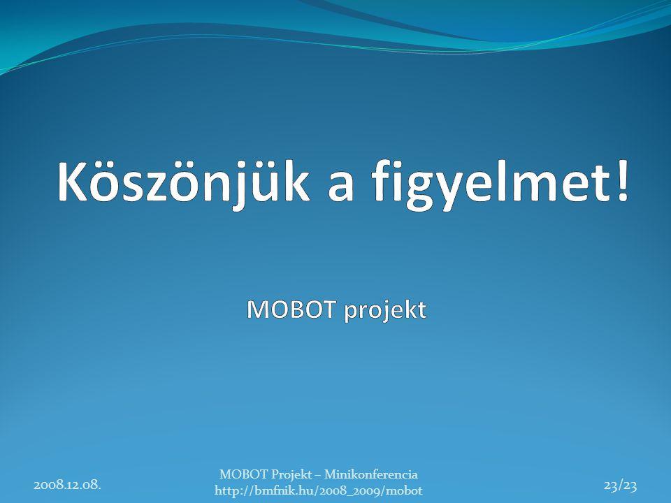 2008.12.08. MOBOT Projekt – Minikonferencia http://bmfnik.hu/2008_2009/mobot 23/23