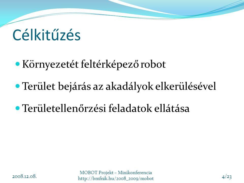 Célkitűzés Környezetét feltérképező robot Terület bejárás az akadályok elkerülésével Területellenőrzési feladatok ellátása 2008.12.08. MOBOT Projekt –