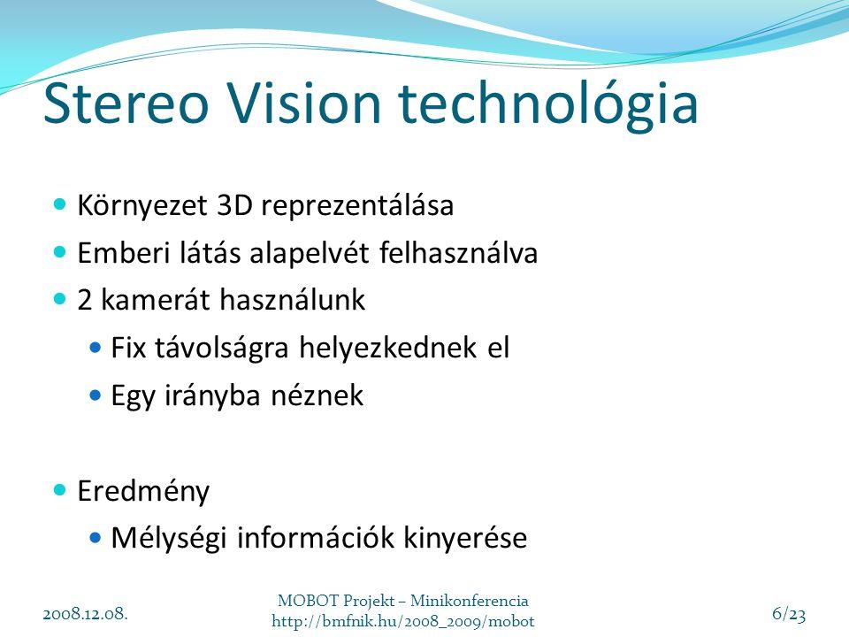 Térképezés és modellezés Területleírás készítés A robot navigáláshoz és terület ellenőrzéshez használjuk Stereo Vision segítségével 3D-ban objektumok meghatározása Objektumok jellemző pontjainak leírása 2008.12.08.