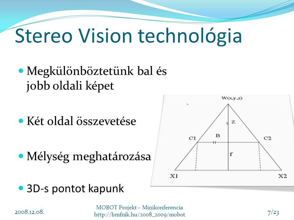 Stereo Vision technológia 2008.12.08. MOBOT Projekt – Minikonferencia http://bmfnik.hu/2008_2009/mobot 7/23 Megkülönböztetünk bal és jobb oldali képet