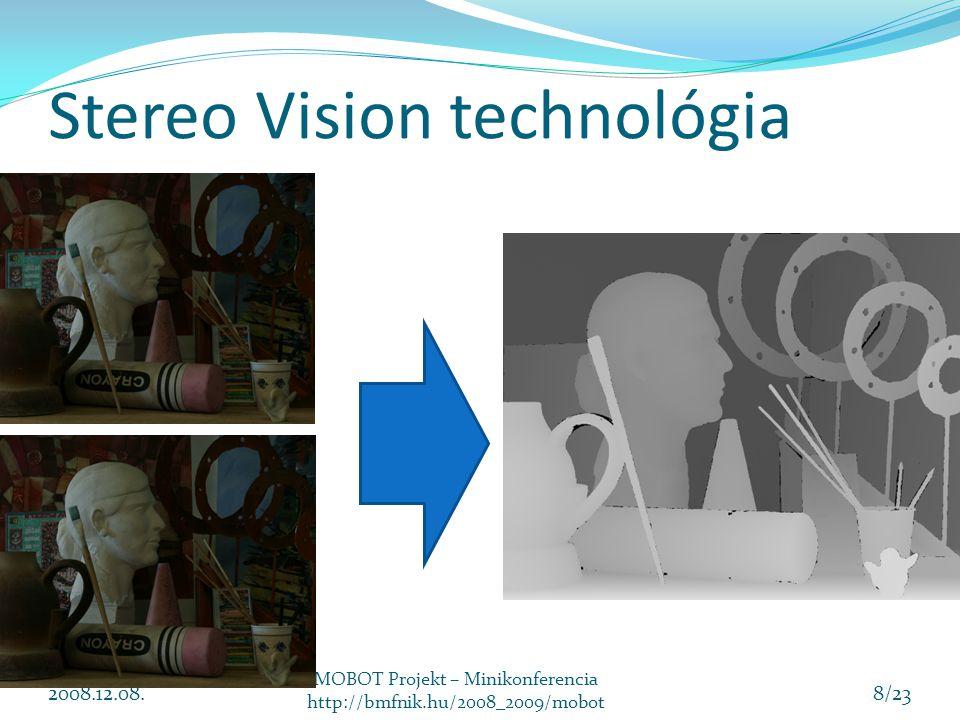 Stereo Vision technológia 2008.12.08. MOBOT Projekt – Minikonferencia http://bmfnik.hu/2008_2009/mobot 8/23