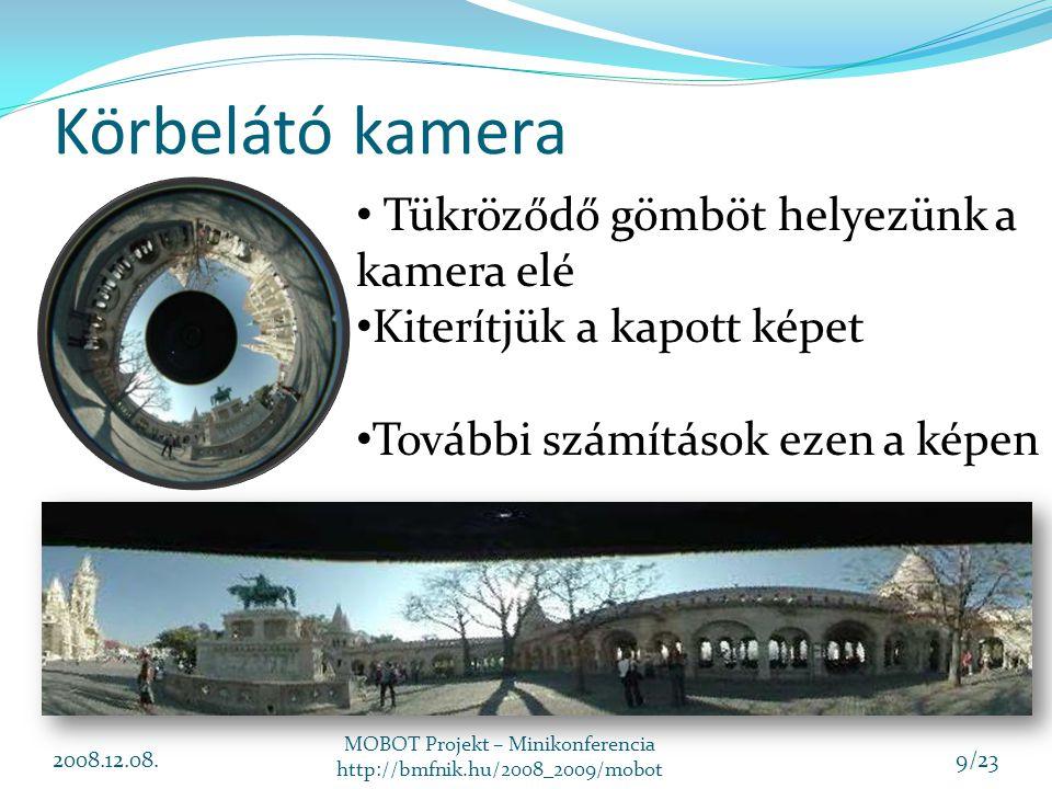 Körbelátó kamera 2008.12.08. MOBOT Projekt – Minikonferencia http://bmfnik.hu/2008_2009/mobot 9/23 Tükröződő gömböt helyezünk a kamera elé Kiterítjük