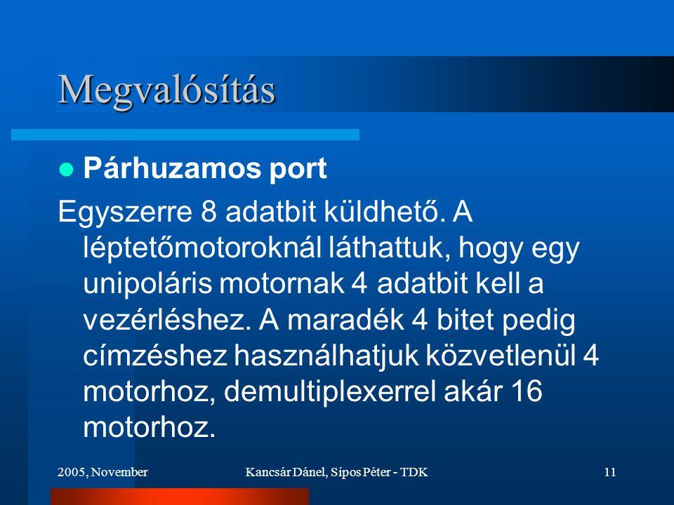 2005, NovemberKancsár Dánel, Sípos Péter - TDK11 Megvalósítás Párhuzamos port Egyszerre 8 adatbit küldhető.