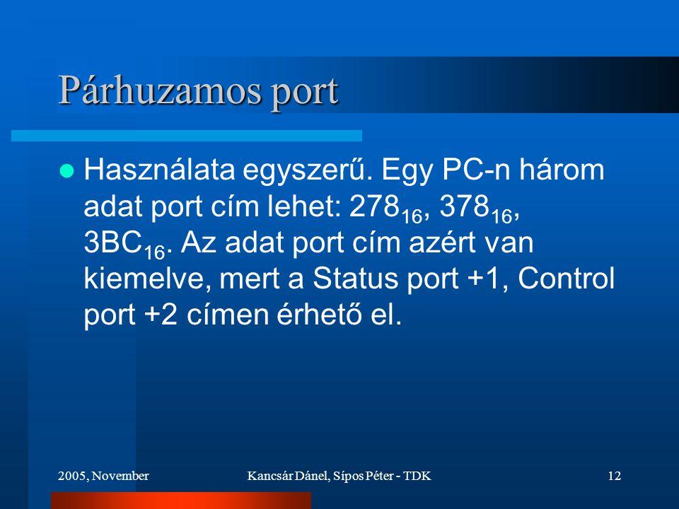 2005, NovemberKancsár Dánel, Sípos Péter - TDK12 Párhuzamos port Használata egyszerű.