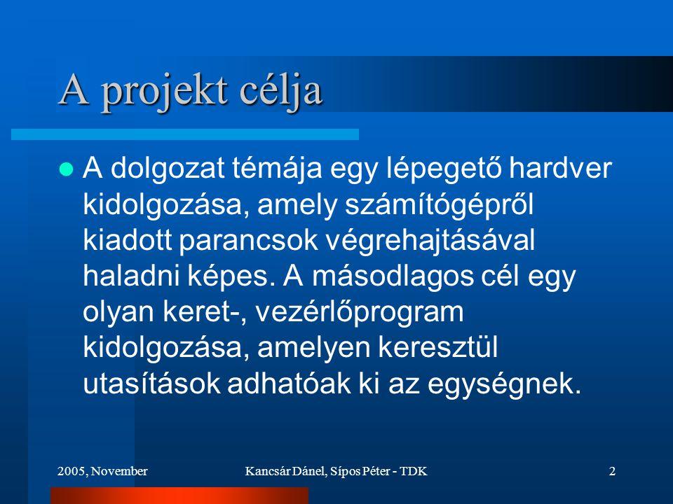 2005, NovemberKancsár Dánel, Sípos Péter - TDK2 A projekt célja A dolgozat témája egy lépegető hardver kidolgozása, amely számítógépről kiadott parancsok végrehajtásával haladni képes.