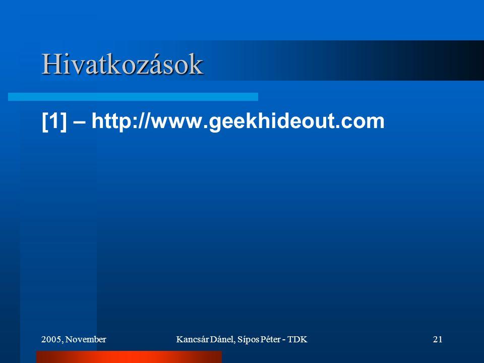 2005, NovemberKancsár Dánel, Sípos Péter - TDK21 Hivatkozások [1] – http://www.geekhideout.com