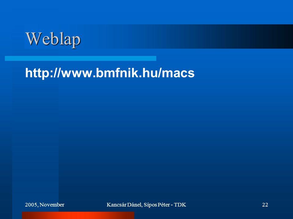 2005, NovemberKancsár Dánel, Sípos Péter - TDK22 Weblap http://www.bmfnik.hu/macs