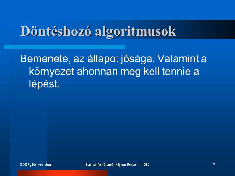 2005, NovemberKancsár Dánel, Sípos Péter - TDK5 Döntéshozó algoritmusok Bemenete, az állapot jósága.