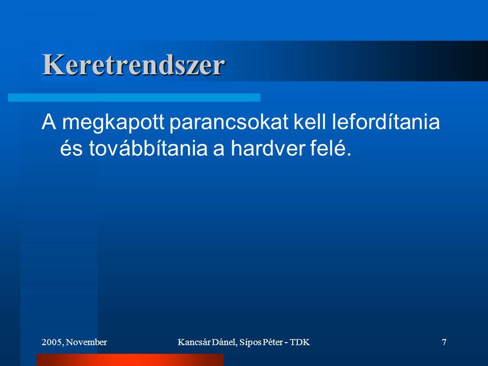 2005, NovemberKancsár Dánel, Sípos Péter - TDK7 Keretrendszer A megkapott parancsokat kell lefordítania és továbbítania a hardver felé.