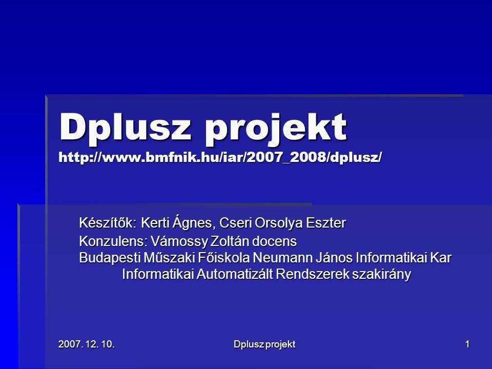 2007.12. 10.Dplusz projekt2 Miről lesz szó.  Mi az a 3D rekonstrukció.