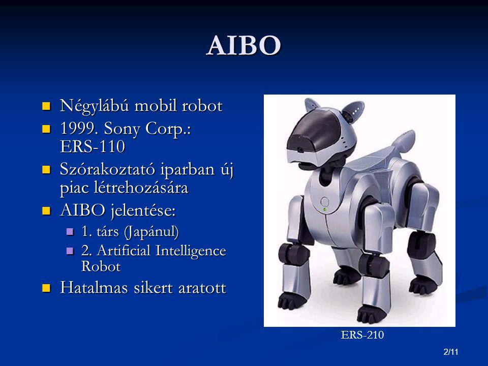 2/11 AIBO Négylábú mobil robot Négylábú mobil robot 1999.