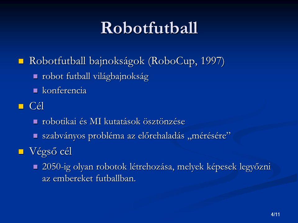 """4/11 Robotfutball Robotfutball bajnokságok (RoboCup, 1997) Robotfutball bajnokságok (RoboCup, 1997) robot futball világbajnokság robot futball világbajnokság konferencia konferencia Cél Cél robotikai és MI kutatások ösztönzése robotikai és MI kutatások ösztönzése szabványos probléma az előrehaladás """"mérésére szabványos probléma az előrehaladás """"mérésére Végső cél Végső cél 2050-ig olyan robotok létrehozása, melyek képesek legyőzni az embereket futballban."""