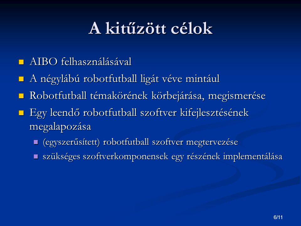 7/11 Cél: robotfutball témakörének körbejárása, megismerése Megvalósítása: Megvalósítása: Irodalomkutatás Irodalomkutatás AIBO AIBO RoboCup RoboCup robotfutball szoftverek megvalósítási alternatívái robotfutball szoftverek megvalósítási alternatívái