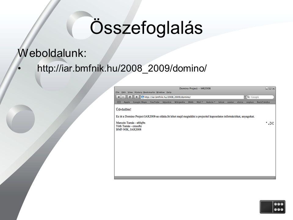 Összefoglalás Weboldalunk: http://iar.bmfnik.hu/2008_2009/domino/
