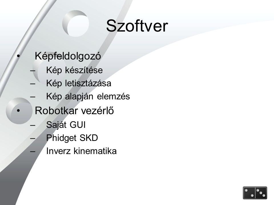 Szoftver Képfeldolgozó –Kép készítése –Kép letisztázása –Kép alapján elemzés Robotkar vezérlő –Saját GUI –Phidget SKD –Inverz kinematika