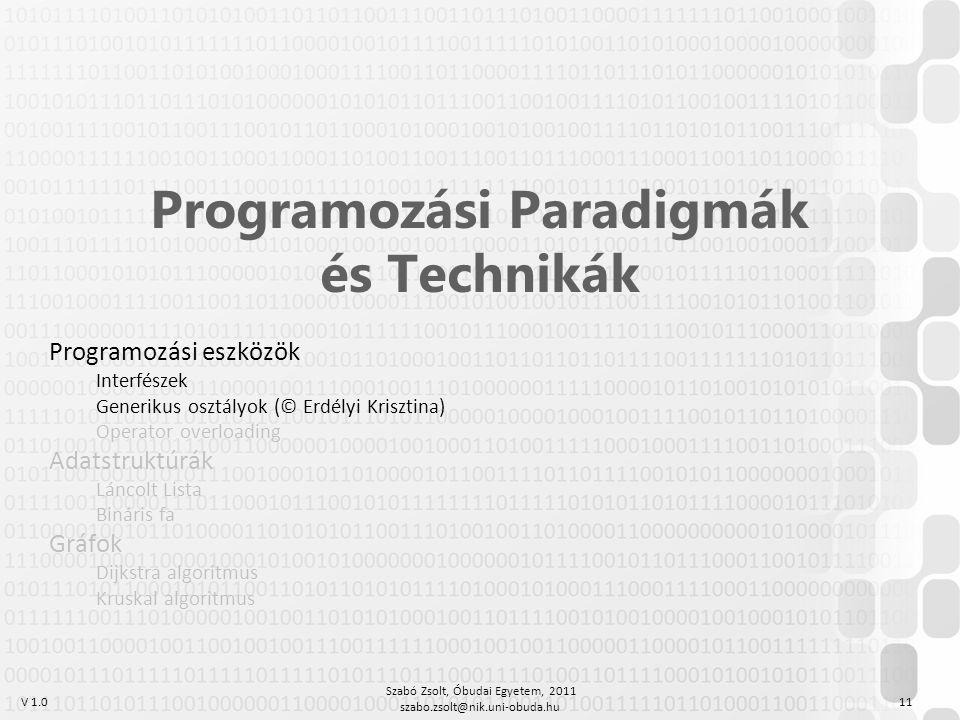 V 1.0 Szabó Zsolt, Óbudai Egyetem, 2011 szabo.zsolt@nik.uni-obuda.hu 11 Programozási Paradigmák és Technikák Programozási eszközök Interfészek Generik