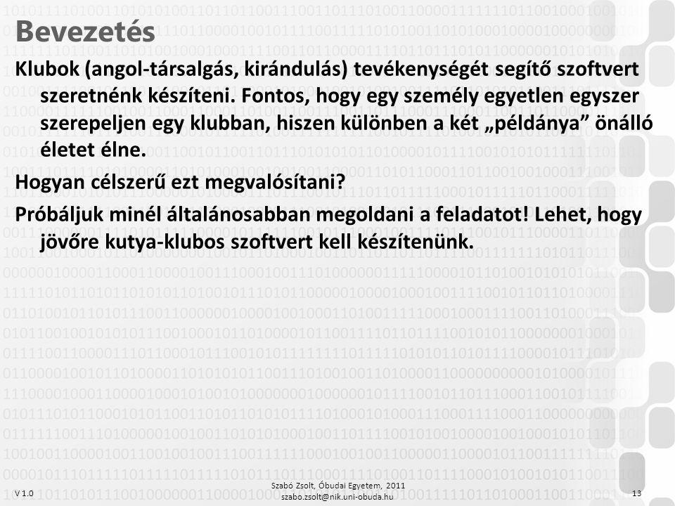 V 1.0 Szabó Zsolt, Óbudai Egyetem, 2011 szabo.zsolt@nik.uni-obuda.hu 13 Bevezetés Klubok (angol-társalgás, kirándulás) tevékenységét segítő szoftvert szeretnénk készíteni.