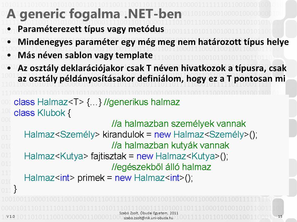 V 1.0 Szabó Zsolt, Óbudai Egyetem, 2011 szabo.zsolt@nik.uni-obuda.hu 15 A generic fogalma.NET-ben Paraméterezett típus vagy metódus Mindenegyes paraméter egy még meg nem határozott típus helye Más néven sablon vagy template Az osztály deklarációjakor csak T néven hivatkozok a típusra, csak az osztály példányosításakor definiálom, hogy ez a T pontosan mi