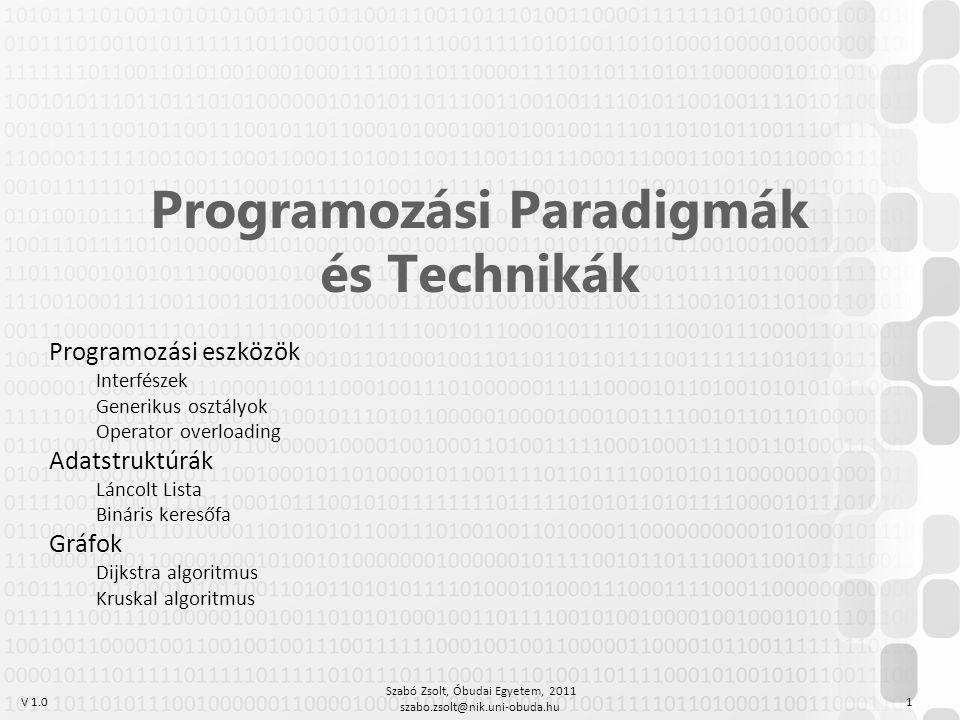 V 1.0 Szabó Zsolt, Óbudai Egyetem, 2011 szabo.zsolt@nik.uni-obuda.hu 1 Programozási Paradigmák és Technikák Programozási eszközök Interfészek Generiku