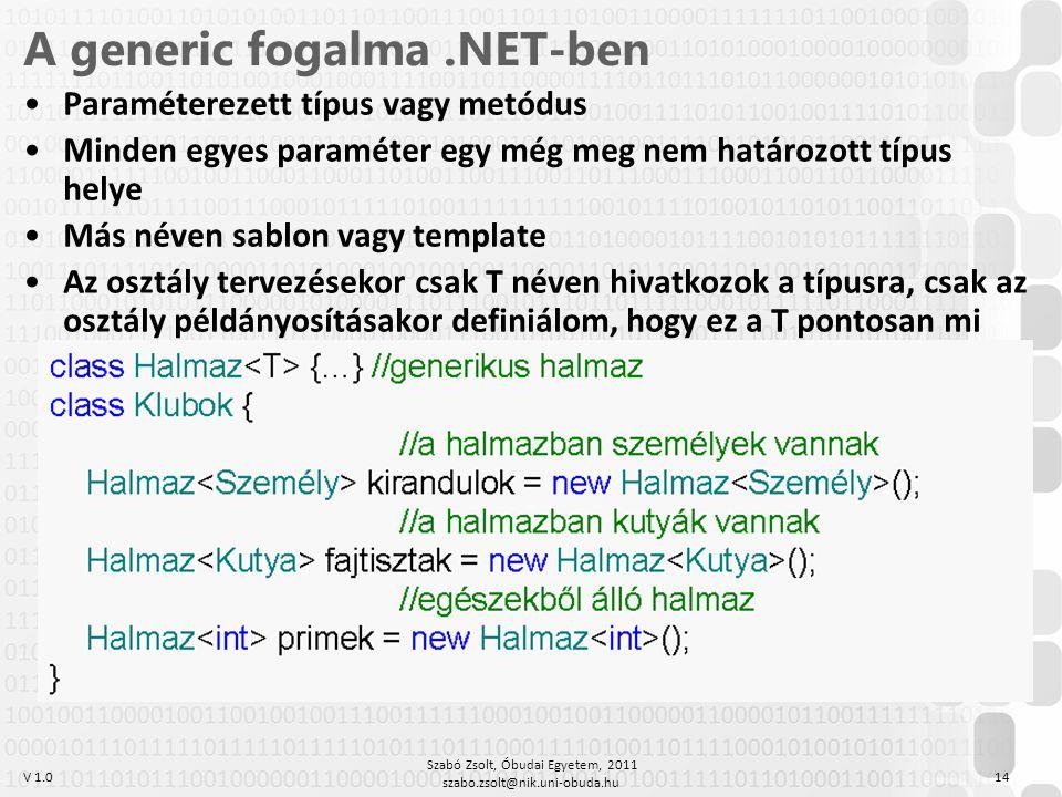V 1.0 Szabó Zsolt, Óbudai Egyetem, 2011 szabo.zsolt@nik.uni-obuda.hu 14 A generic fogalma.NET-ben Paraméterezett típus vagy metódus Minden egyes paraméter egy még meg nem határozott típus helye Más néven sablon vagy template Az osztály tervezésekor csak T néven hivatkozok a típusra, csak az osztály példányosításakor definiálom, hogy ez a T pontosan mi