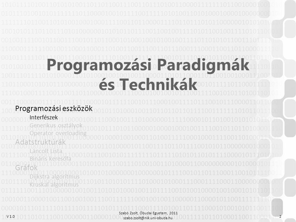 V 1.0 Szabó Zsolt, Óbudai Egyetem, 2011 szabo.zsolt@nik.uni-obuda.hu 2 Programozási Paradigmák és Technikák Programozási eszközök Interfészek Generiku