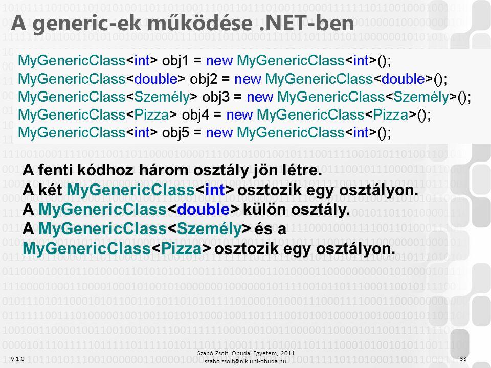V 1.0 Szabó Zsolt, Óbudai Egyetem, 2011 szabo.zsolt@nik.uni-obuda.hu 33 A generic-ek működése.NET-ben A fenti kódhoz három osztály jön létre.