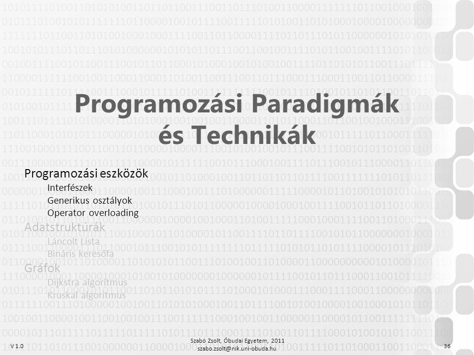 V 1.0 Szabó Zsolt, Óbudai Egyetem, 2011 szabo.zsolt@nik.uni-obuda.hu 36 Programozási Paradigmák és Technikák Programozási eszközök Interfészek Generik