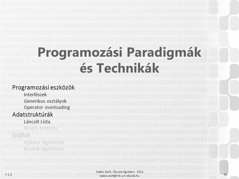 V 1.0 Szabó Zsolt, Óbudai Egyetem, 2011 szabo.zsolt@nik.uni-obuda.hu 40 Programozási Paradigmák és Technikák Programozási eszközök Interfészek Generik