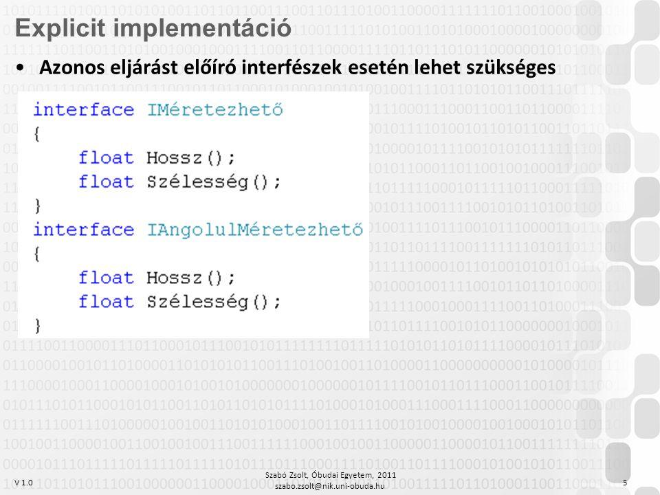V 1.0 Szabó Zsolt, Óbudai Egyetem, 2011 szabo.zsolt@nik.uni-obuda.hu 5 Explicit implementáció Azonos eljárást előíró interfészek esetén lehet szüksége
