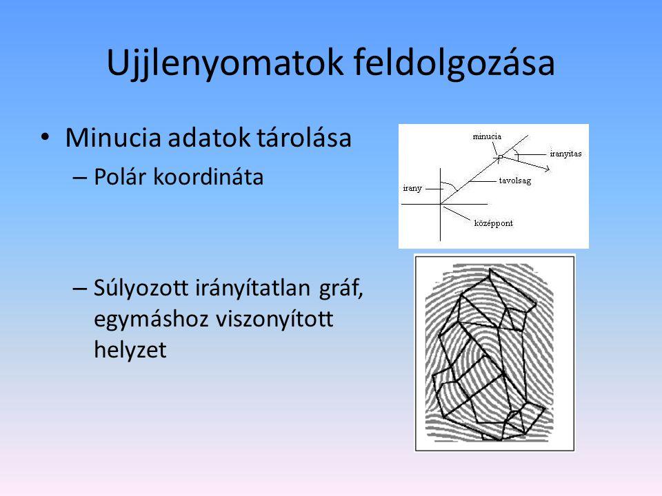Ujjlenyomatok feldolgozása Minucia adatok tárolása – Polár koordináta – Súlyozott irányítatlan gráf, egymáshoz viszonyított helyzet