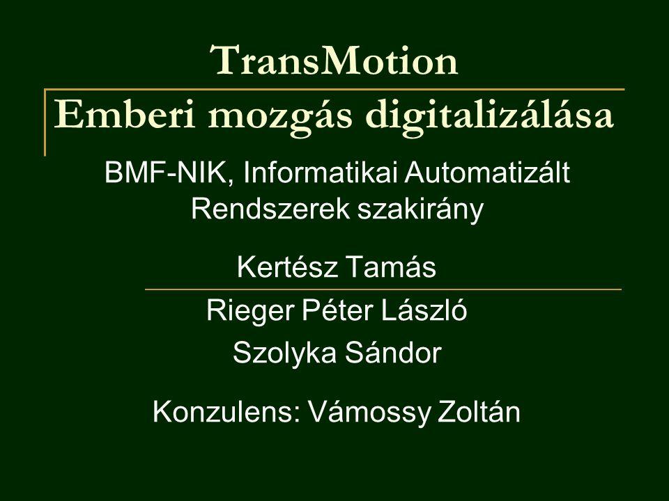 TransMotion Emberi mozgás digitalizálása BMF-NIK, Informatikai Automatizált Rendszerek szakirány Kertész Tamás Rieger Péter László Szolyka Sándor Konz