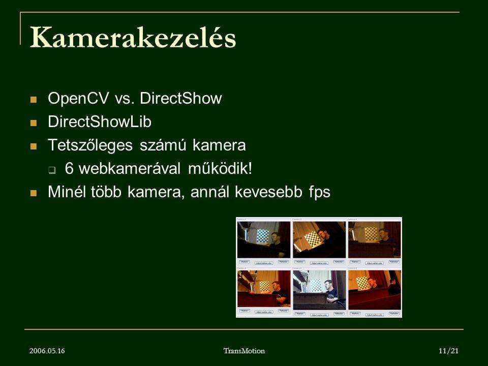 2006.05.16 TransMotion 11/21 Kamerakezelés OpenCV vs. DirectShow DirectShowLib Tetszőleges számú kamera  6 webkamerával működik! Minél több kamera, a