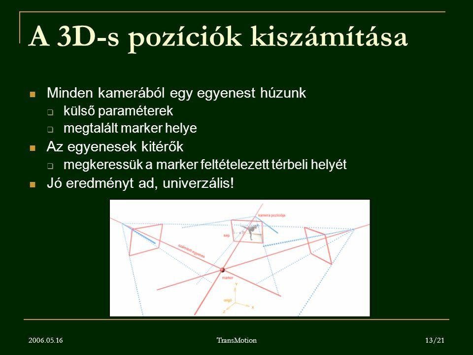 2006.05.16 TransMotion 13/21 A 3D-s pozíciók kiszámítása Minden kamerából egy egyenest húzunk  külső paraméterek  megtalált marker helye Az egyenese