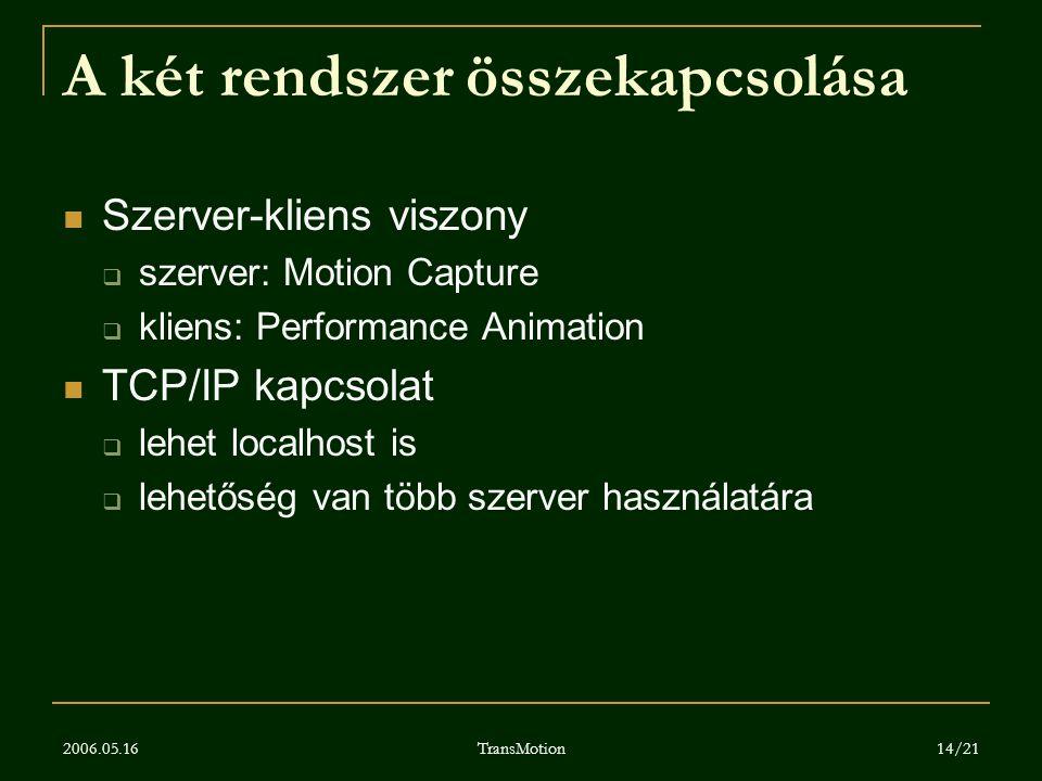 2006.05.16 TransMotion 14/21 A két rendszer összekapcsolása Szerver-kliens viszony  szerver: Motion Capture  kliens: Performance Animation TCP/IP ka