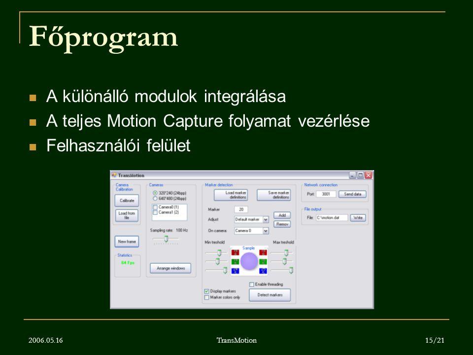 2006.05.16 TransMotion 15/21 Főprogram A különálló modulok integrálása A teljes Motion Capture folyamat vezérlése Felhasználói felület