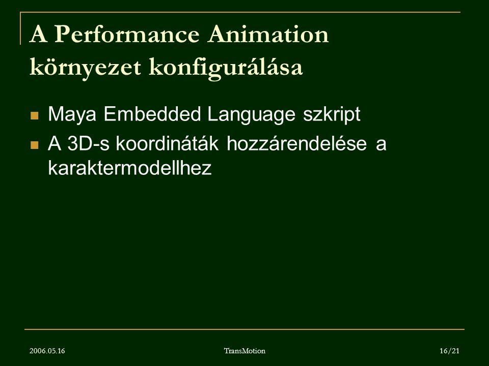 2006.05.16 TransMotion 16/21 A Performance Animation környezet konfigurálása Maya Embedded Language szkript A 3D-s koordináták hozzárendelése a karakt