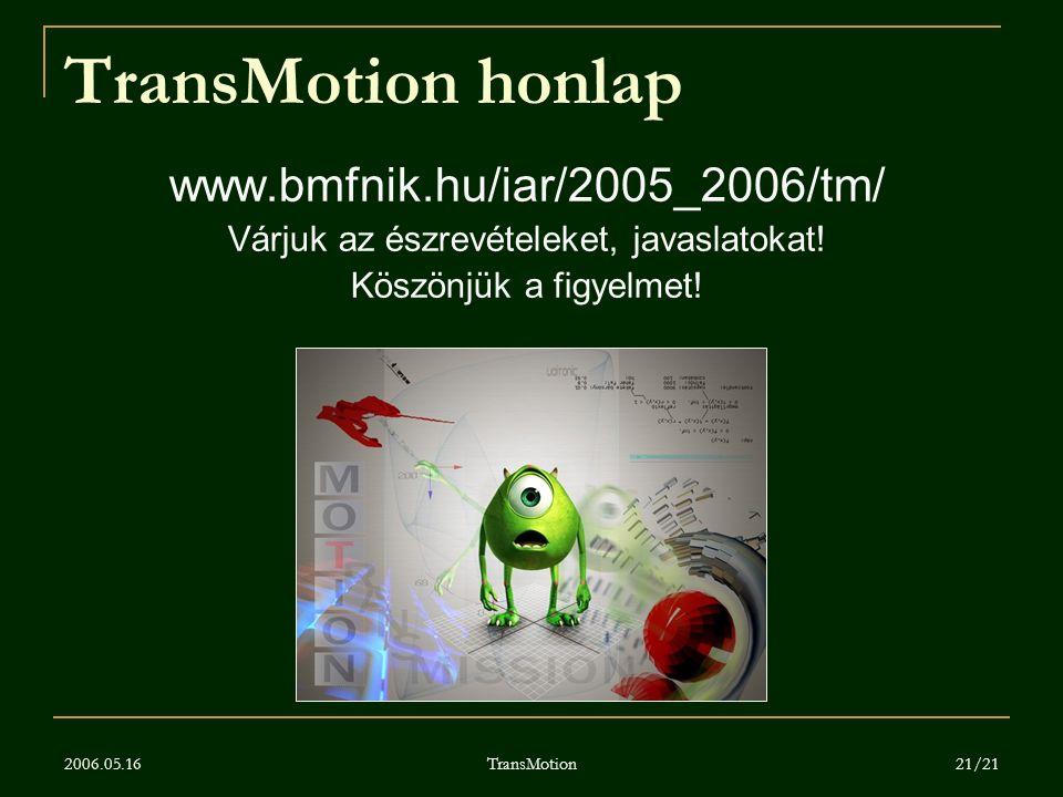 2006.05.16 TransMotion 21/21 TransMotion honlap www.bmfnik.hu/iar/2005_2006/tm/ Várjuk az észrevételeket, javaslatokat! Köszönjük a figyelmet!