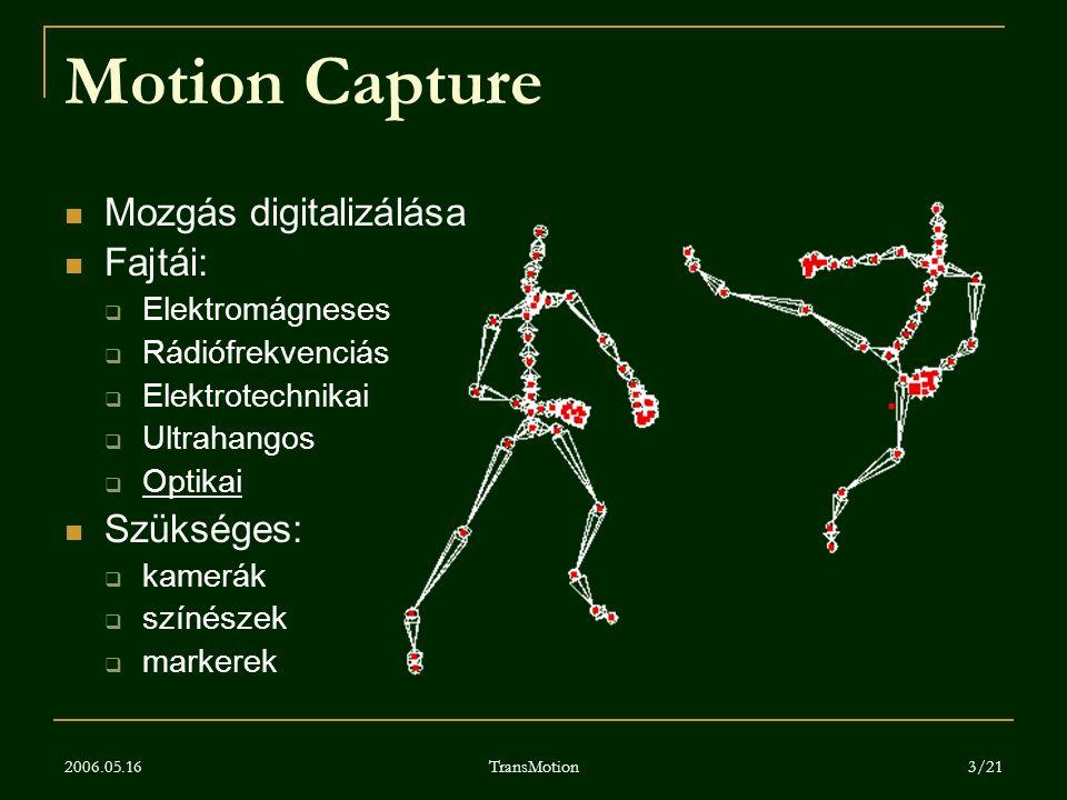 2006.05.16 TransMotion 3/21 Motion Capture Mozgás digitalizálása Fajtái:  Elektromágneses  Rádiófrekvenciás  Elektrotechnikai  Ultrahangos  Optik