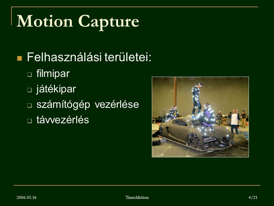 2006.05.16 TransMotion 4/21 Motion Capture Felhasználási területei:  filmipar  játékipar  számítógép vezérlése  távvezérlés