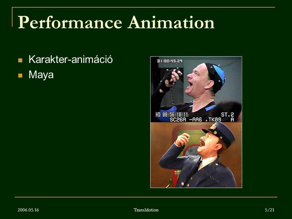 2006.05.16 TransMotion 5/21 Performance Animation Karakter-animáció Maya