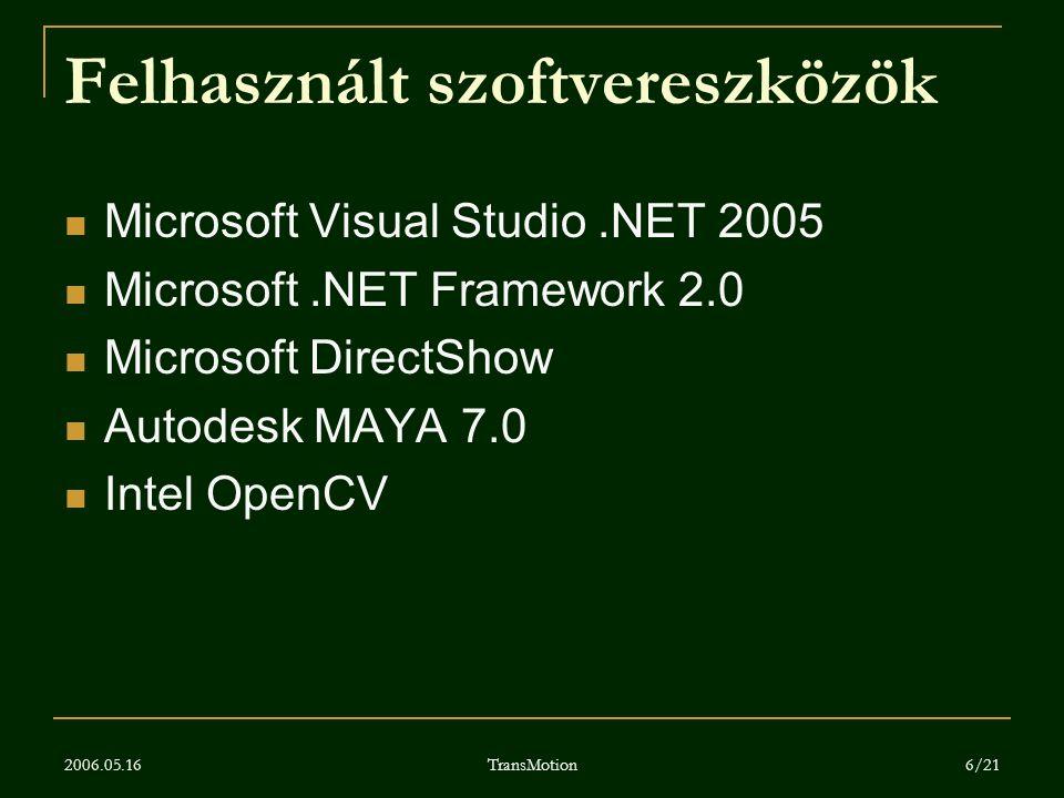 2006.05.16 TransMotion 6/21 Felhasznált szoftvereszközök Microsoft Visual Studio.NET 2005 Microsoft.NET Framework 2.0 Microsoft DirectShow Autodesk MA