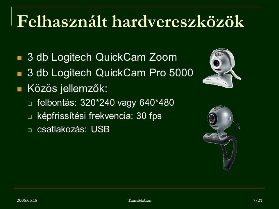 2006.05.16 TransMotion 7/21 Felhasznált hardvereszközök 3 db Logitech QuickCam Zoom 3 db Logitech QuickCam Pro 5000 Közös jellemzők:  felbontás: 320*