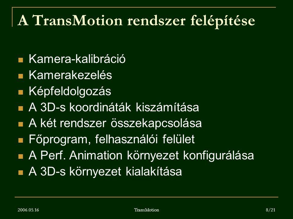 2006.05.16 TransMotion 8/21 A TransMotion rendszer felépítése Kamera-kalibráció Kamerakezelés Képfeldolgozás A 3D-s koordináták kiszámítása A két rend