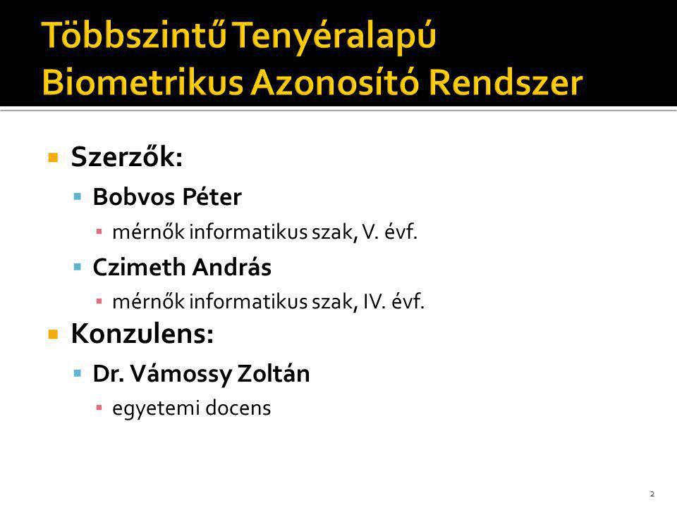 2  Szerzők:  Bobvos Péter ▪ mérnők informatikus szak, V. évf.  Czimeth András ▪ mérnők informatikus szak, IV. évf.  Konzulens:  Dr. Vámossy Zoltá